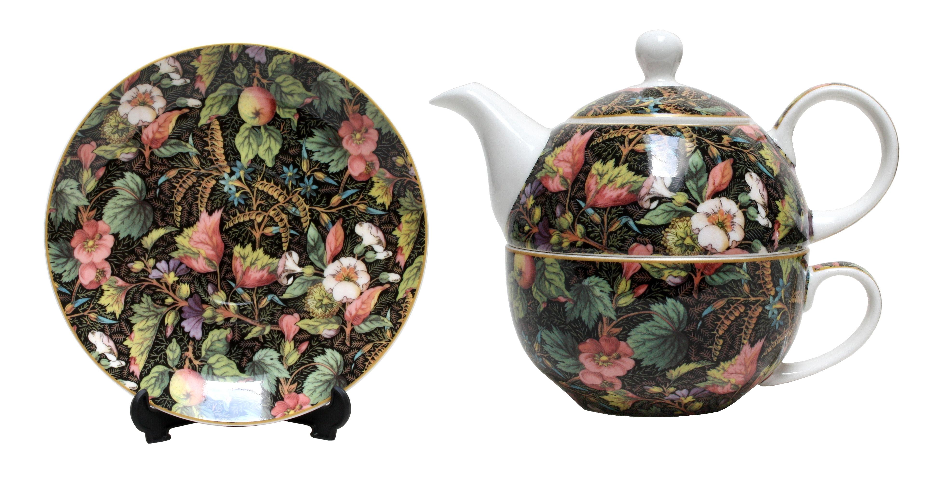 TEA FOR ONE-FLORAL-BLACK SET