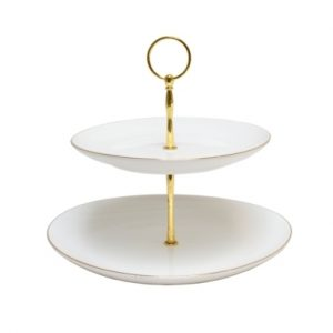 CAKE STAND-WHITE n GOLD-2 TIER SET