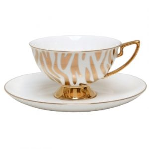 CUP & SAUCER-ZEBRA-WHITE n GOLD SET
