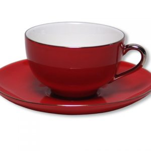 CUP & SAUCER-LADY SIENNA-RED SET OF 2