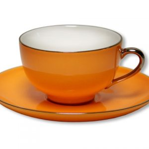 CUP & SAUCER-LADY SIENNA-ORANGE SET OF 2