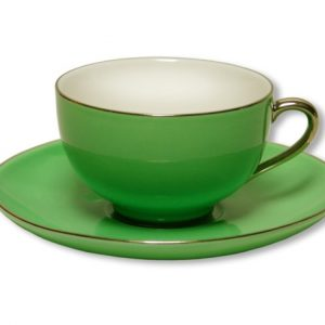 CUP & SAUCER-LADY SIENNA-GREEN SET OF 2