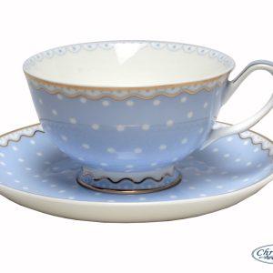 CUP & SAUCER-POLKA-BLUE SET