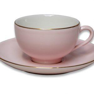 CUP & SAUCER-VINTAGE-PINK SET OF 2