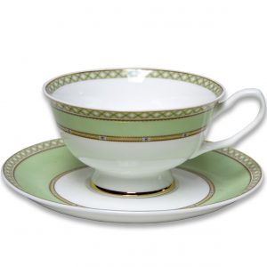 CUP & SAUCER-LADY JANE-GREEN SET OF 2