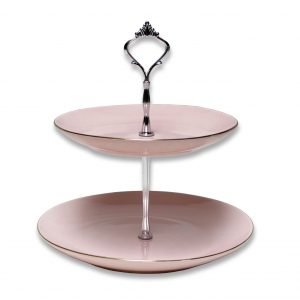CAKE STAND-VINTAGE-PINK-2 TIER EACH