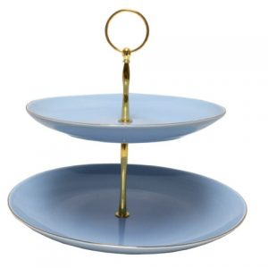 CAKE STAND-VINTAGE-2 TIER-BLUE EACH