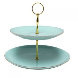 CAKE STAND-VINTAGE-2 TIER-TEAL EACH