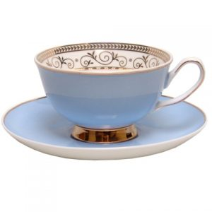 CUP & SAUCER-VINTAGE ROYALE-BLUE SET