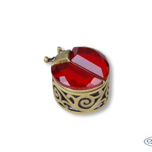 TRINKET BOX ELEGANCE L/BEETLE RED