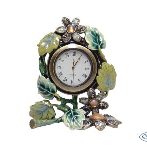 CLOCK GREEN ENAMEL LEAVES (7CM)