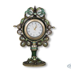 CLOCK GREEN ENAMEL OLIVINE MANTLE