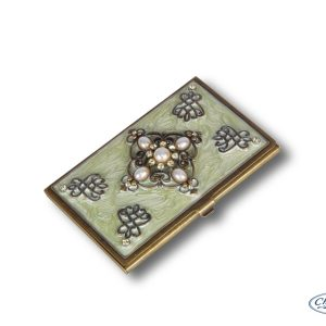 BUSINESS CARD HOLDER CREAMY IVORY/PEARLS