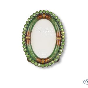 FRAME BRONZE/GREEN W/CRYSTALS OVAL