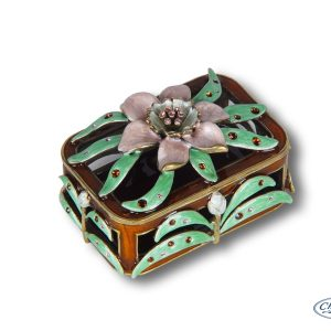 TRINKET BOX ENAMEL RECT W/FLOWER