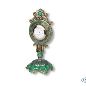 CLOCK OLIVINE ENAMEL BOUTIQUE MANTEL