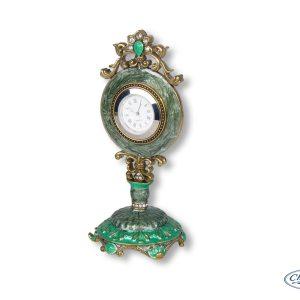 CLOCK OLIVINE ENAMEL BOUTIQUE MANTEL