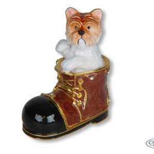 TRINKET BOX DOG IN BOOT ORNAMENT
