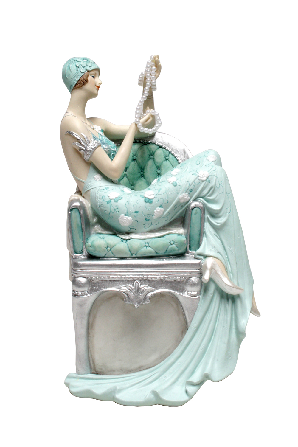BROADWAY BELLE-LADY WITH PEARLS-TEAL (18cm x 47cm)