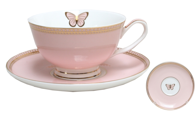 CUP & SAUCER-DOILEY BUTTERFLY-PINK