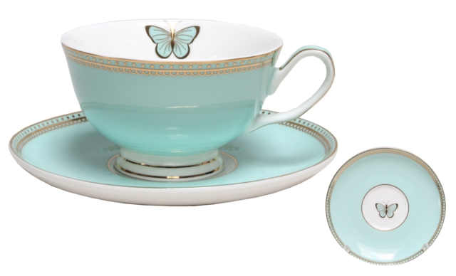 CUP & SAUCER-DOILEY BUTTERFLY-TEAL